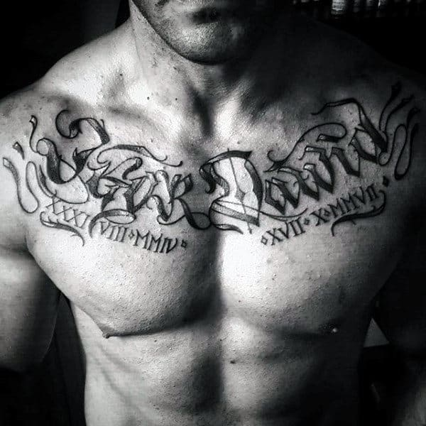 Roman Numerals Guys Name Chest Tattoos