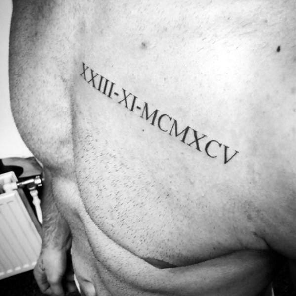 Roman Numerals Mens Chest Simple Tattoo Ideas