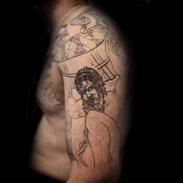 Roman Numerals Mens Greek Atlas Tattoo On Upper Arm And Shoulder