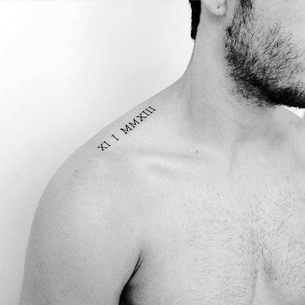 Roman Numerals Minimalist Mens Collar Bone Tattoo Ideas