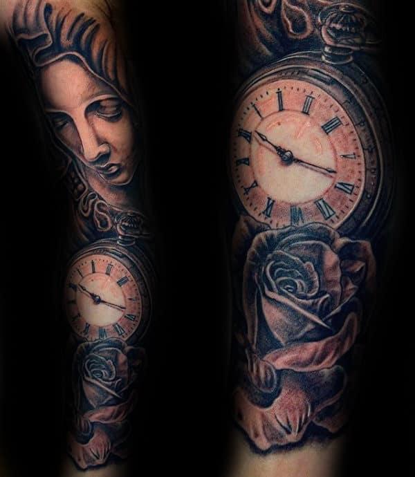 Roman Numerals Pocket Watch Virgin Mary Sleeve Tattoos For Guys