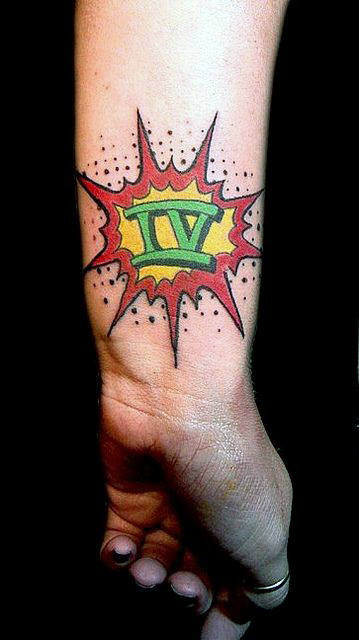 Roman Numerals Pop Art Mens Wrist Tattoos