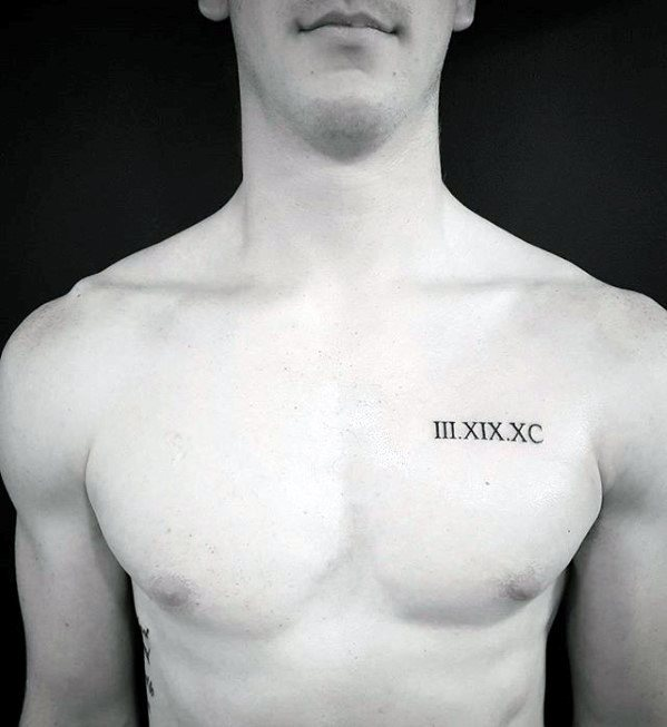 9d7ac7b5c Roman Numerals Upper Chest Tattoo For Guys With Small Design