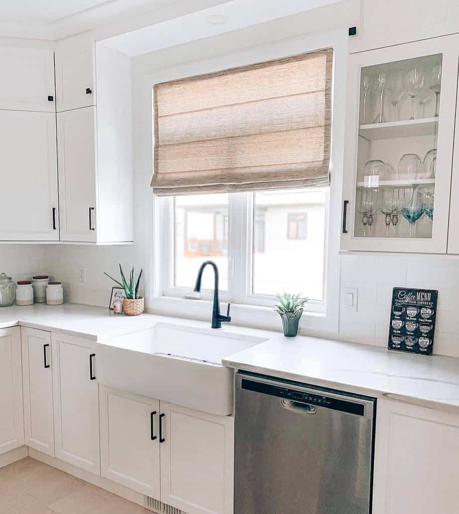 roman shade kitchen curtain ideas budgetblindsottawa