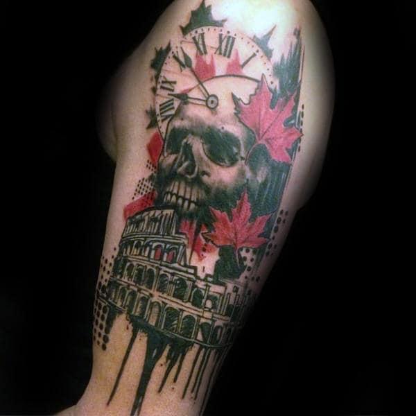 Roman Skull Trash Polka Mens Upper Arm Tattoos