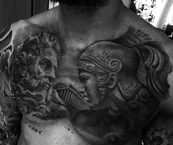 Roman Statue Chest Tattoo Ideas For Gentlemen