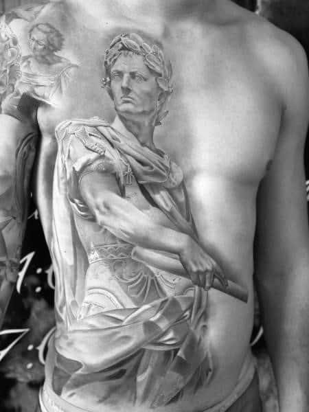 Roman Statue Guys Tattoo Ideas On Half Chest