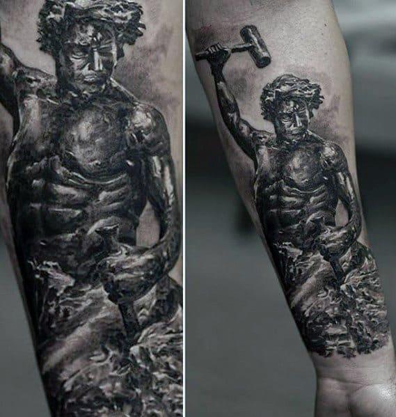 Roman Statue Mens Tattoo Designs