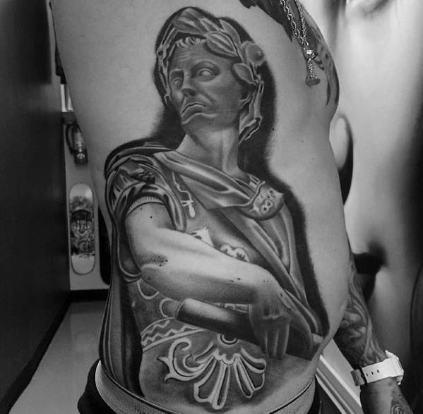 Roman Statue Rib Cage Side Tattoos Male