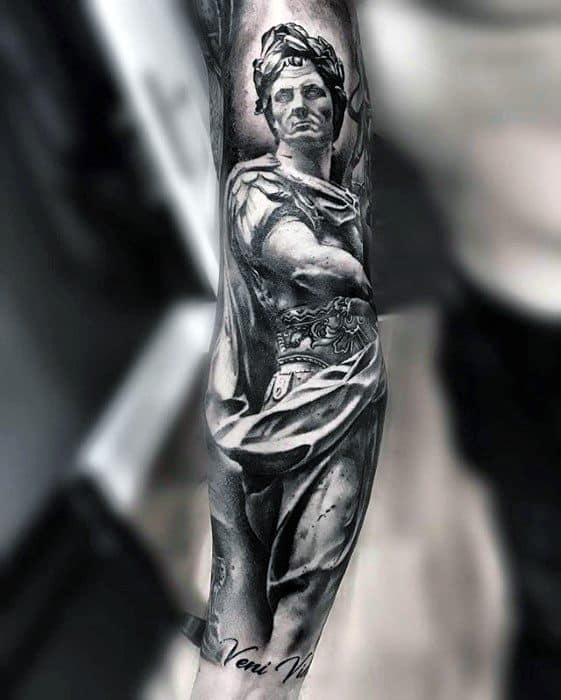 Roman Statue Tattoo On Men