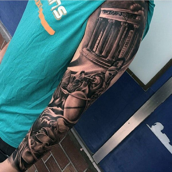 Roman Warrior Modern Male Tattoo Full Sleeve Shaded Ink