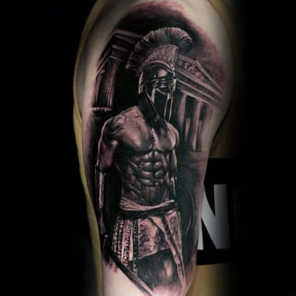 Roman Warrior Spartan Black Ink Upper Arm Guys Tattoos