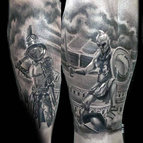 Roman Warriors Extreme Guys Shaded Realistic Leg Sleeve Tattoos