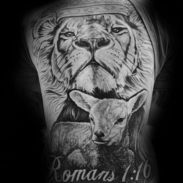 Romans Religious Mens Lion And Lamb Animal Back Tattoo