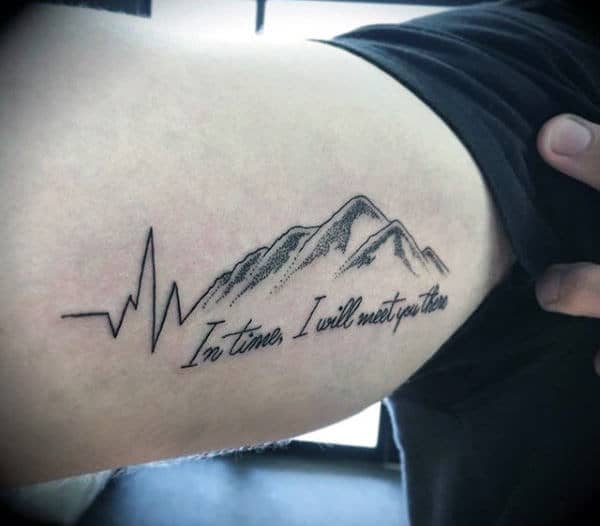 Romantic Heartbeat Across Mountains Tattoo Mens Forearms