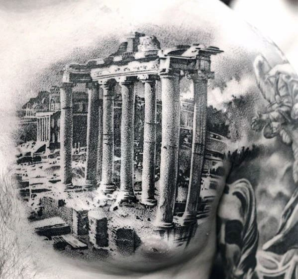 Rome Architecture Sweet Mens 3d Realistic Upper Chest Tattoos