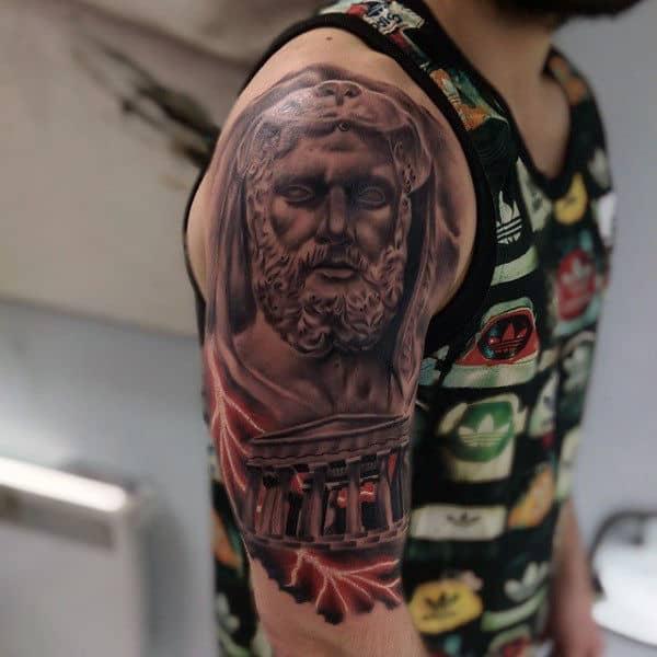 Rome Mens Lightning Bolts Hercules Half Sleeve Tattoos