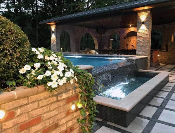 Top 60 Best Pool Waterfall Ideas - Cascading Water Features
