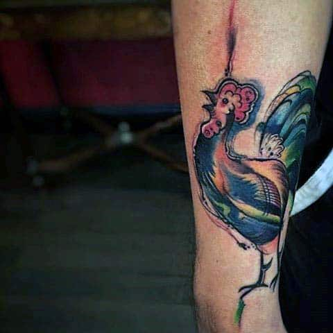 Rooster Tattoo For Men Upper Arm Abstract Style Modern Look