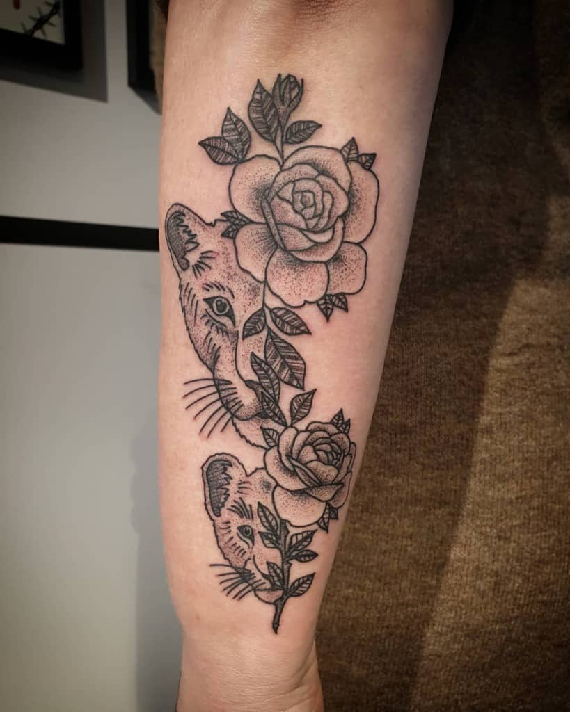 Root Down Cet Flower Lioness Tattoo