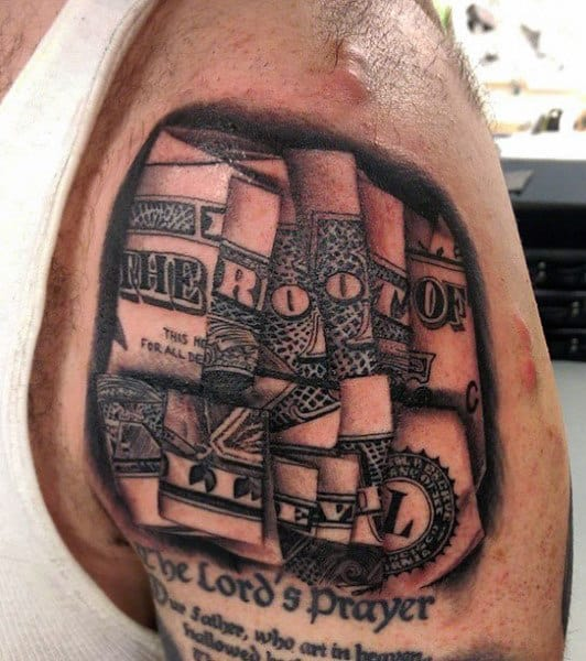 Root Of All Evil Men's Money Tattoos On Upper Arm