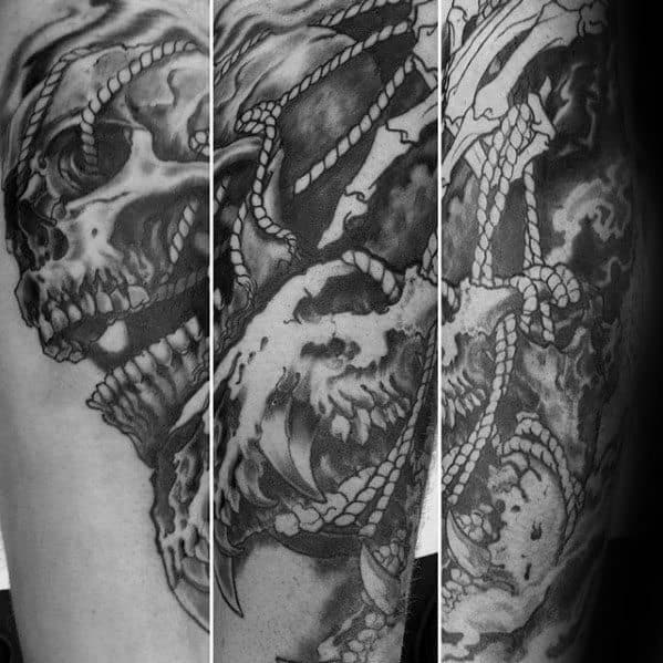 Rope With Lion Skull Male Forearm Tattoos