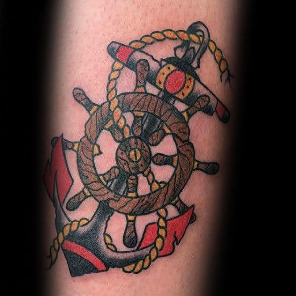 70 traditional anchor tattoo designs for men vintage ideas for Anchor and wheel tattoo