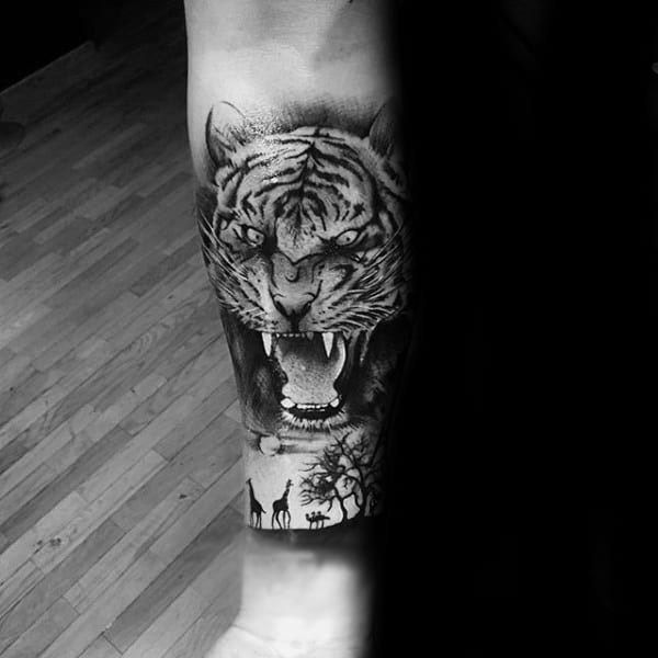 Roraring Tiger Animal Forearm Quarter Sleeve Tattoos For Guys