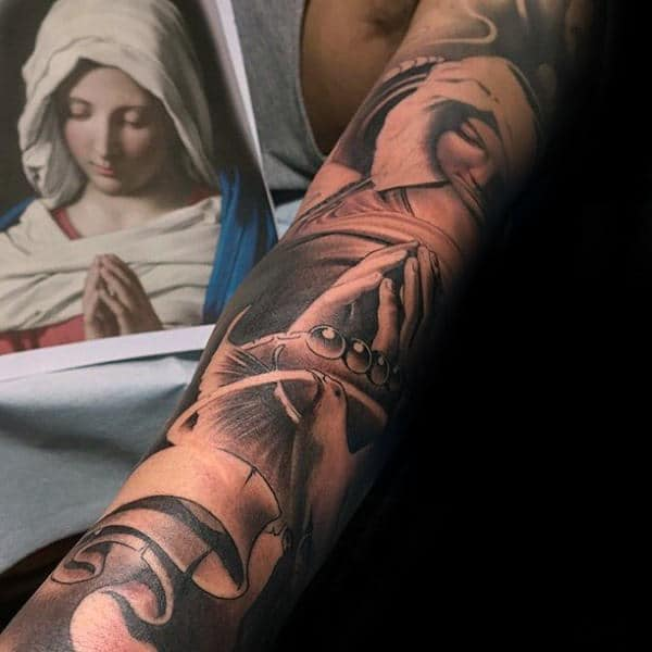 Rosary Beads With Praying Mother Mary Guys Full Arm Sleeve Tattoos