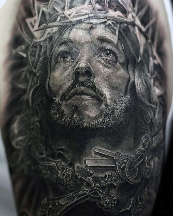 Rosary Cross With Jesus Male Arm Tattoo