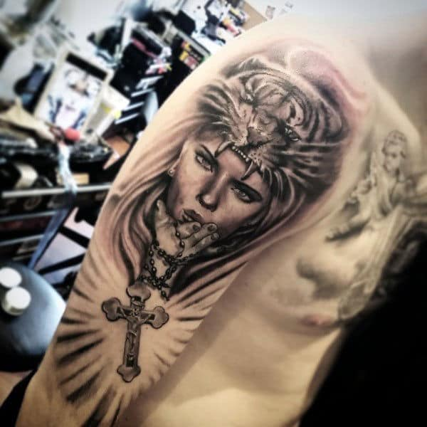 Rosary Tattoo On Arm Of Male