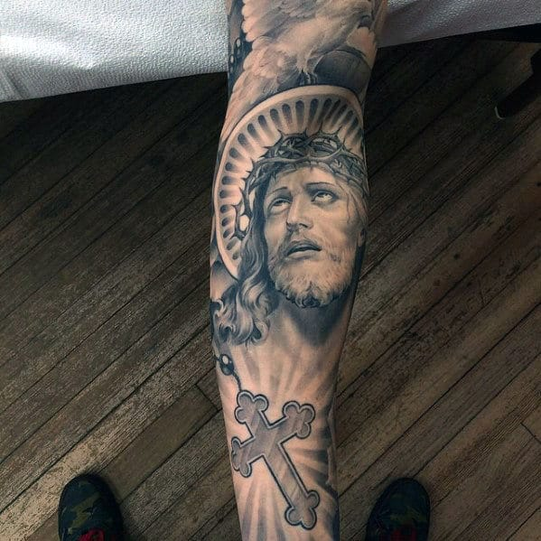 Rosary With Jesus Portrait Male Full Sleeve Tattoos