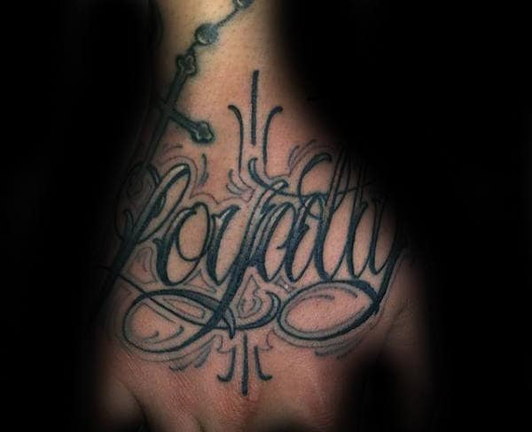Rosary With Loyalty Word Mens Hand Tattoos