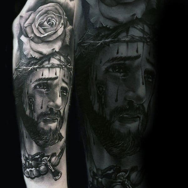 Rose And Jesus Religious Tattoo Male Sleeves