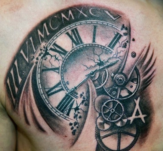 Chest Rose And Clock Tattoo For Men