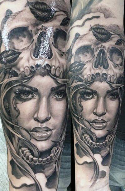 Rose Leaf And Skull Tattoos