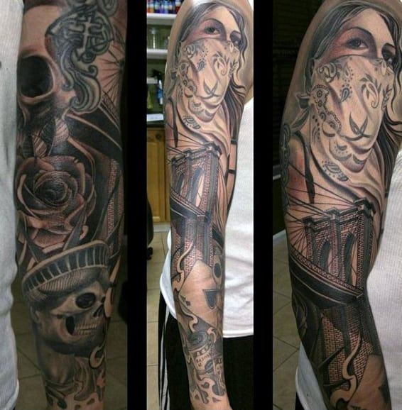 Rose And Statue Of Liberty Sleeve Skeleton Male Tattoo