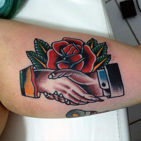 Rose And Treaty Tradiotional American Tattoo Mens Arms