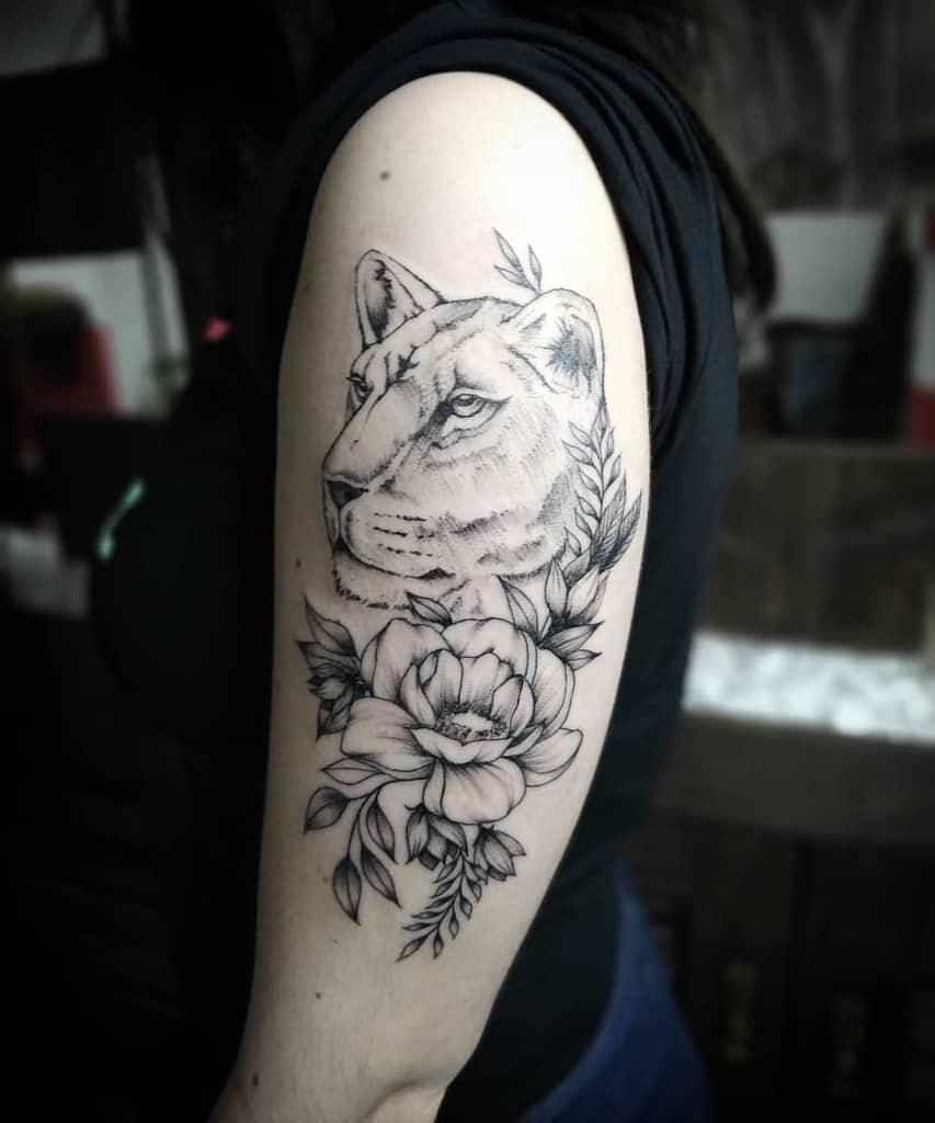 Rose Black Work Lion Tattoo