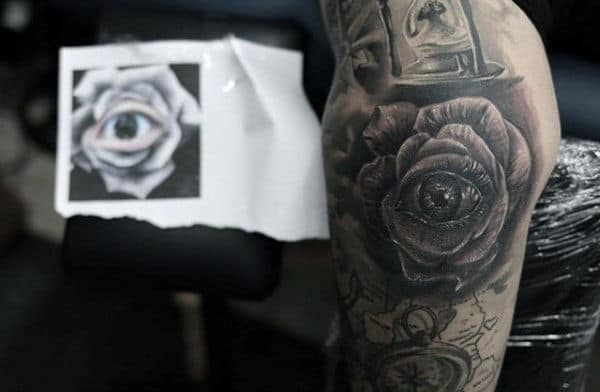 Rose Eye Elbow Tattoo Artwork For Males