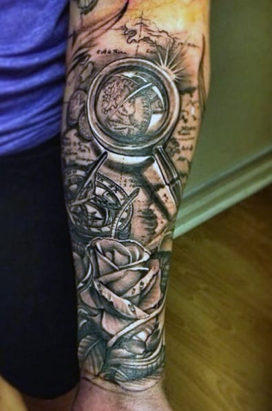 Rose Flower And Compass Men's Tattoo Ideas