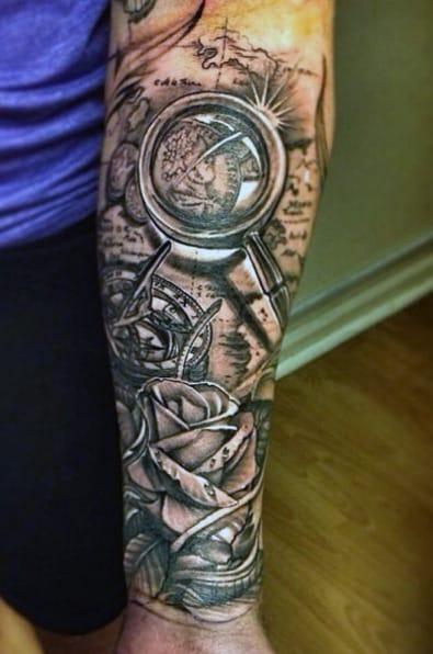 Rose Flower And Compass Men's Tattoo Ideas