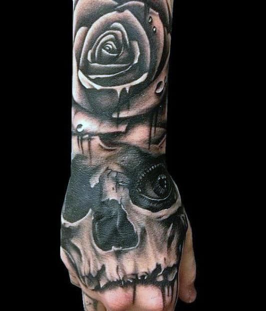 Rose Flower And Skull With Eye Mens Hand Tattoos