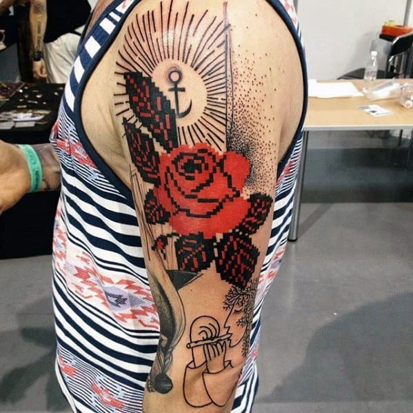 Rose Flower Arm Guys Pixel Tattoos
