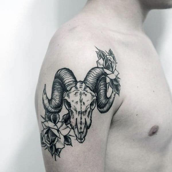 Rose Flower Black Ink Male Upper Arm Goat Skull Tattoos
