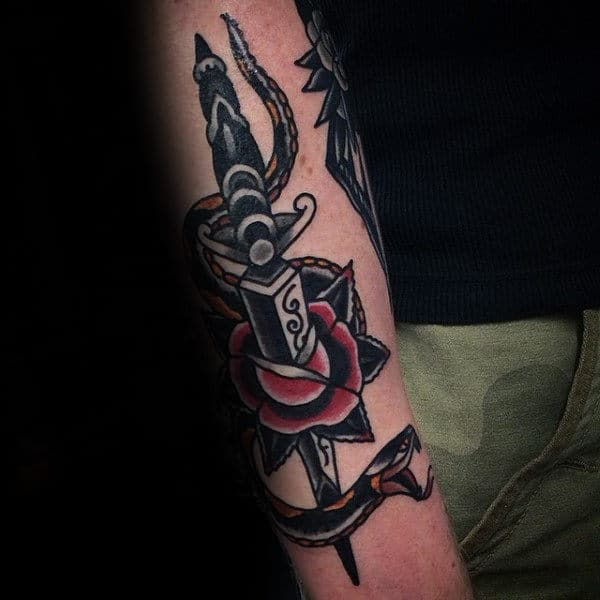 Rose Flower Dagger And Snake Traditional Tattoo On Gentleman