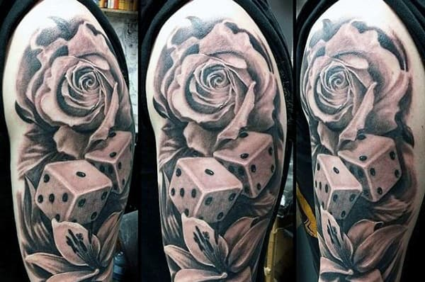 Rose Flower Dice Mens Tattoo On Upper Arm
