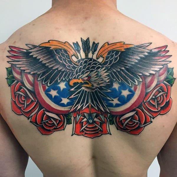 Rose Flower Eagle Patriotic Guys Back Tattoos