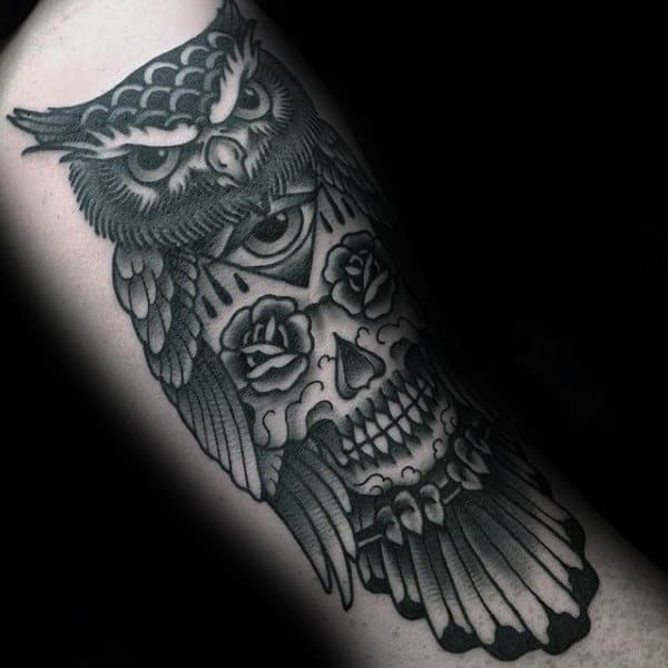Rose Flower Eyes Skull With Owl Male Traditional Arm Tattoo