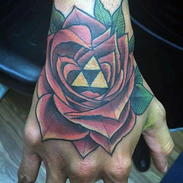 Rose Flower Golden Triangles Mens Triforce Hand Tatos